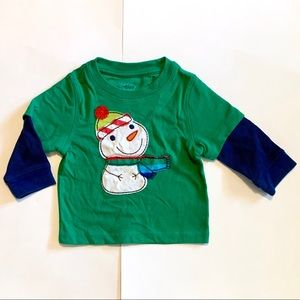Nursery Rhyme Long Sleeve Snowman Shirt Appliqué